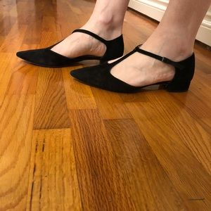 Suede t-strap flats